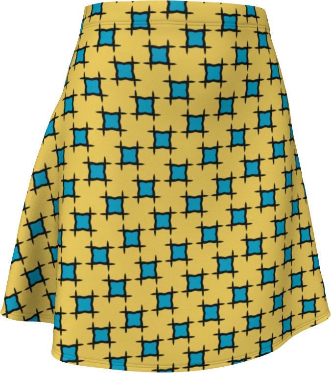 The Moira Flare Skirt in Yellow and Blue
