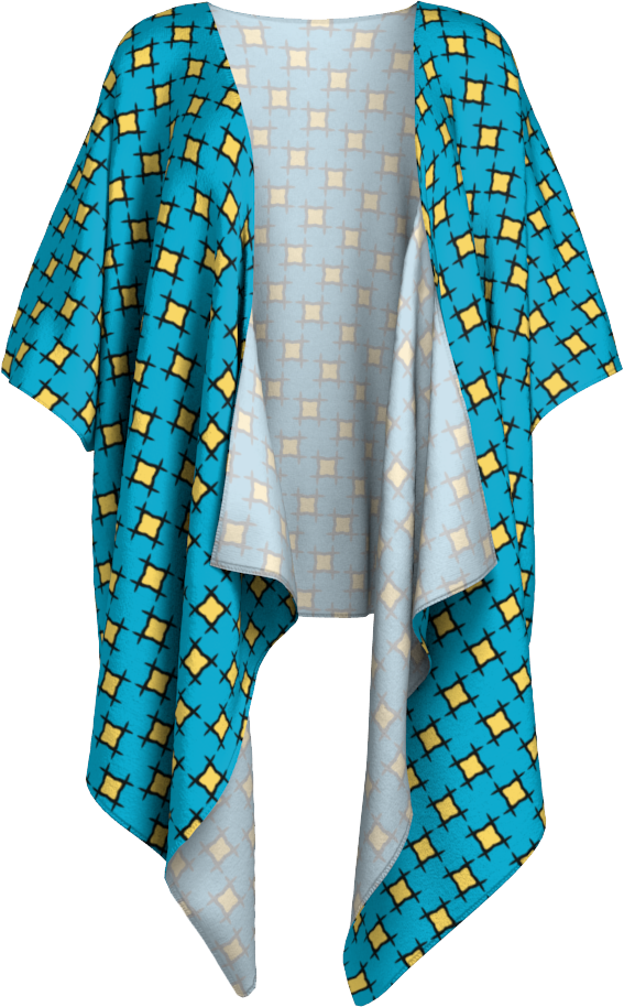 The Moira Kimono in Blue and Yellow