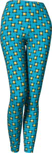 The Moira Leggings in Blue and Yellow-Leggings-Clash Patterns by Jennifer Akkermans