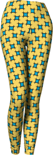 The Moira Leggings in Yellow and Blue-Leggings-Clash Patterns by Jennifer Akkermans