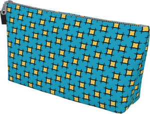 The Moira Makeup Bag in Blue and Yellow