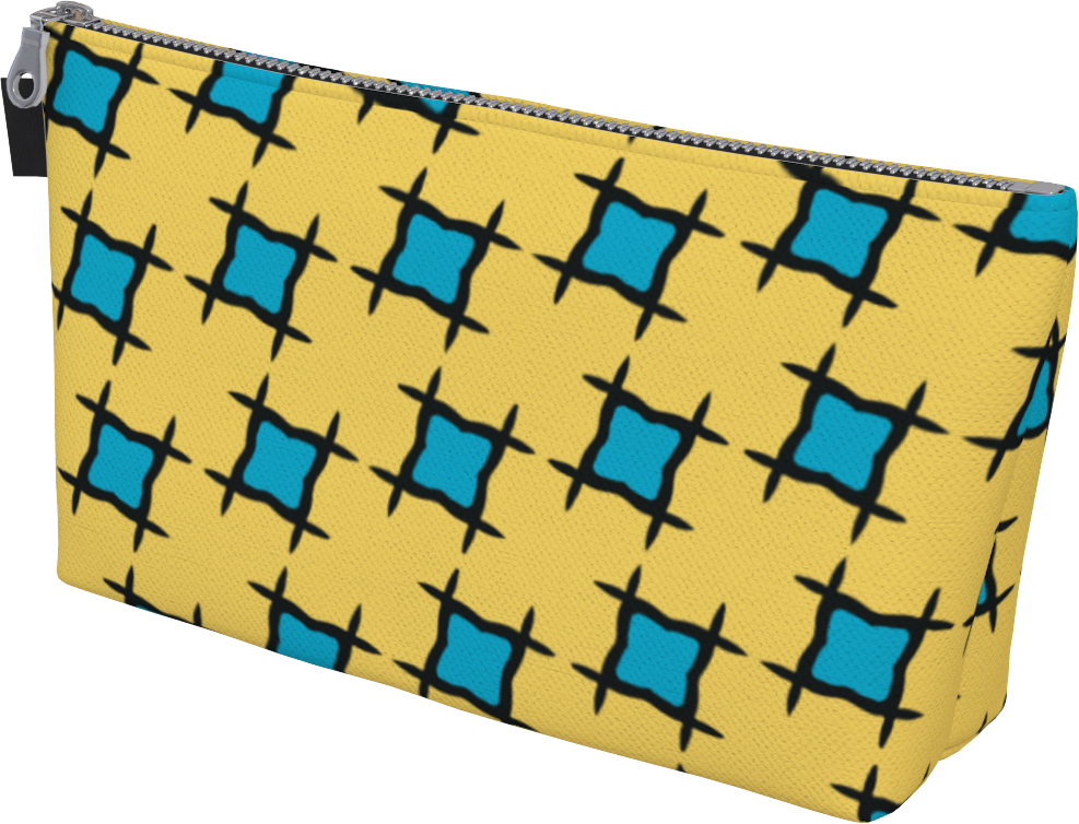 The Moira Makeup Bag in Yellow and Blue