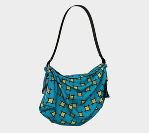 The Moira Origami Bag in Blue and Yellow-Clash Patterns