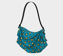 Load image into Gallery viewer, The Moira Origami Bag in Blue and Yellow-Clash Patterns