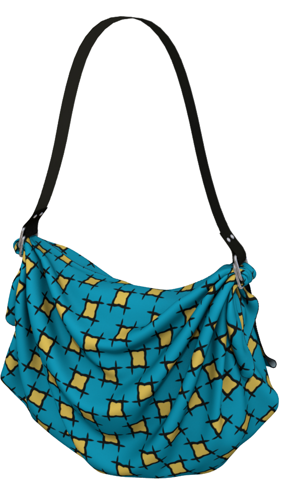 The Moira Origami Bag in Blue and Yellow
