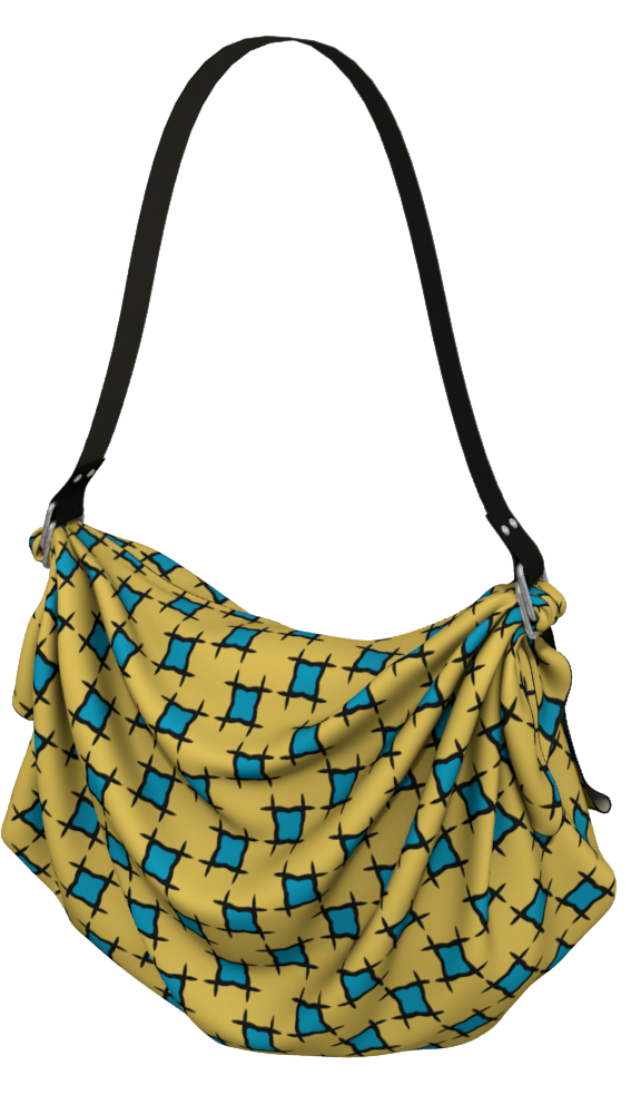 The Moira Origami Bag in Yellow and Blue-Origami Tote-Clash Patterns by Jennifer Akkermans