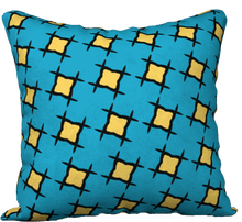 Load image into Gallery viewer, The Moira Reversible Pillow in Blue and Yellow