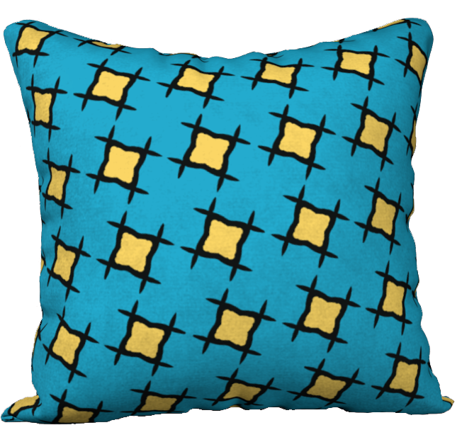 The Moira Reversible Pillow in Blue and Yellow