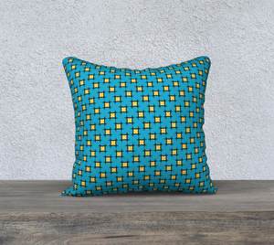 The Moira Reversible Pillow in Blue and Yellow-Clash Patterns