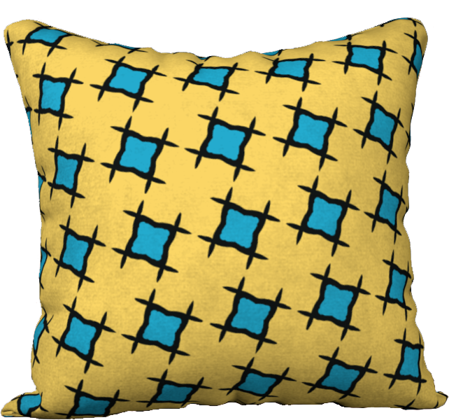 The Moira Reversible Pillow in Yellow and Blue