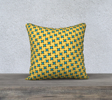 Load image into Gallery viewer, The Moira Reversible Pillow in Yellow and Blue-Clash Patterns