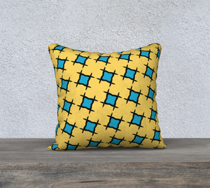 The Moira Reversible Pillow in Yellow and Blue-Clash Patterns