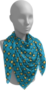 The Moira Square Scarf in Blue and Yellow