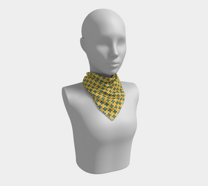 The Moira Square Scarf in Yellow and Blue-Clash Patterns