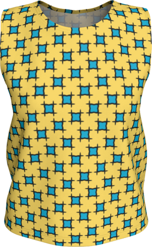 The Moira Tank Top in Yellow and Blue-Loose Tank Top (Regular)-Clash Patterns by Jennifer Akkermans