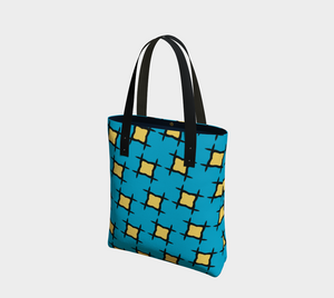 The Moira Tote Bag in Blue and Yellow-Clash Patterns