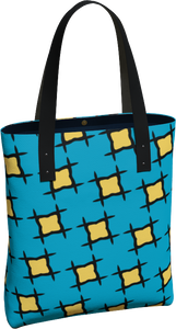 The Moira Tote Bag in Blue and Yellow-Tote Bag-Clash Patterns by Jennifer Akkermans