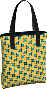 The Moira Tote Bag in Yellow and Blue-Tote Bag-Clash Patterns by Jennifer Akkermans