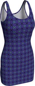 The Nadine Fitted Dress in Purple and Blue