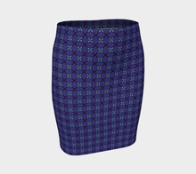 Load image into Gallery viewer, The Nadine Fitted Skirt in Purple and Blue-Clash Patterns