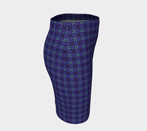 The Nadine Fitted Skirt in Purple and Blue-Clash Patterns