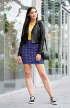 Load image into Gallery viewer, The Nadine Fitted Skirt in Purple and Blue