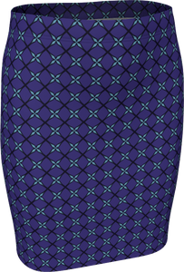 The Nadine Fitted Skirt in Purple and Blue