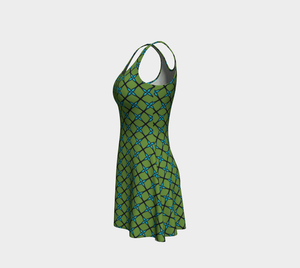 The Nadine Flare Dress in Green and Blue-Clash Patterns