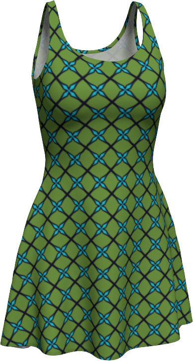 The Nadine Flare Dress in Green and Blue