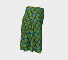 Load image into Gallery viewer, The Nadine Flare Skirt in Green and Blue-Clash Patterns