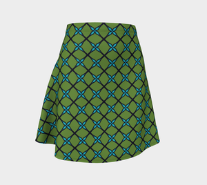 The Nadine Flare Skirt in Green and Blue-Clash Patterns