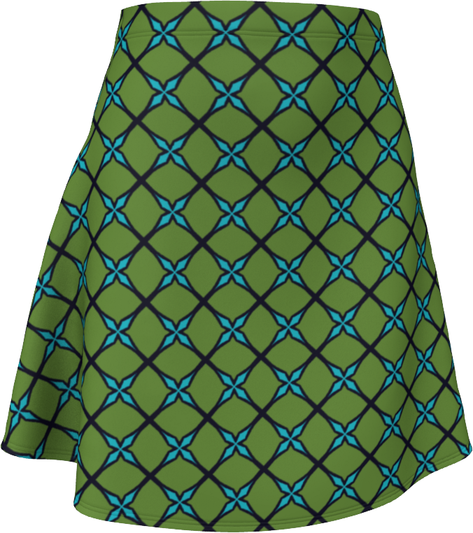 The Nadine Flare Skirt in Green and Blue