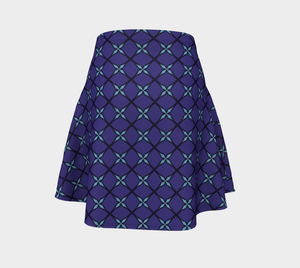 The Nadine Flare Skirt in Purple and Blue-Clash Patterns