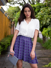 Load image into Gallery viewer, The Nadine Flare Skirt in Purple and Blue-Clash Patterns