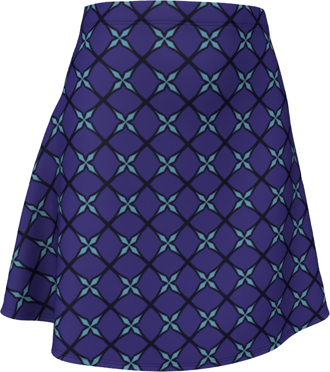 The Nadine Flare Skirt in Purple and Blue
