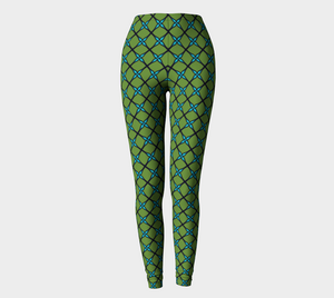 The Nadine Leggings in Green and Blue-Clash Patterns