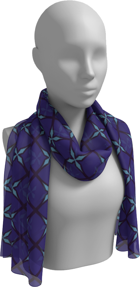The Nadine Long Scarf in Purple and Blue