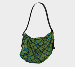 The Nadine Origami Bag in Green and Blue-Clash Patterns