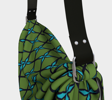 Load image into Gallery viewer, The Nadine Origami Bag in Green and Blue-Clash Patterns