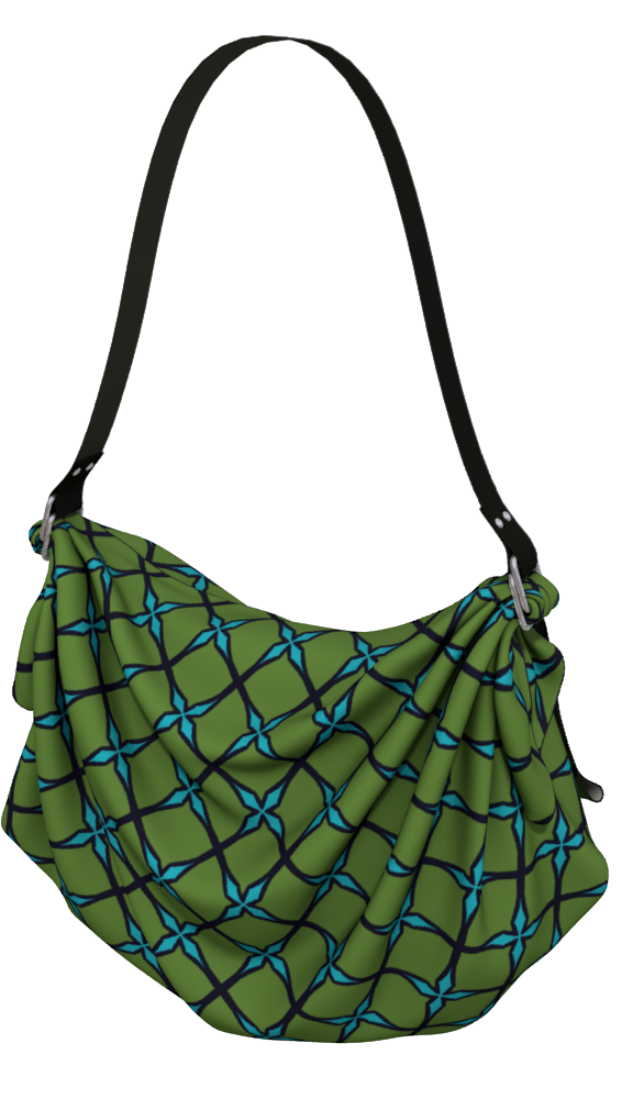 The Nadine Origami Bag in Green and Blue