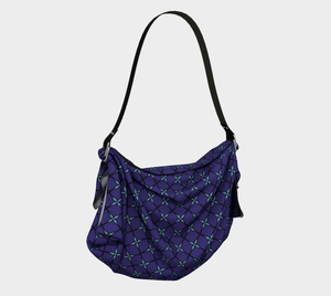 The Nadine Origami Tote in Purple and Blue-Clash Patterns