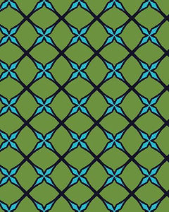 The Nadine Print-at-Home Art Print in Green and Blue - Digital Download-Clash Patterns