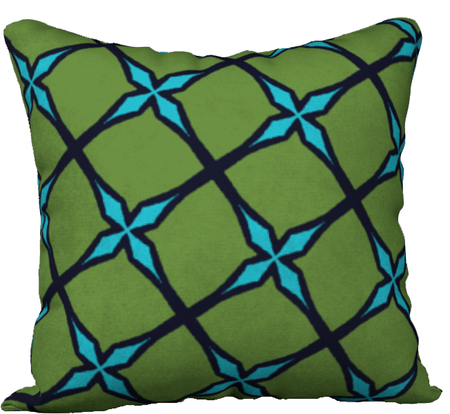The Nadine Reversible Pillow in Green and Blue