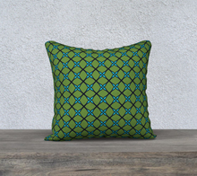 Load image into Gallery viewer, The Nadine Reversible Pillow in Green and Blue-Clash Patterns