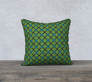 The Nadine Reversible Pillow in Green and Blue-Clash Patterns