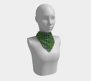The Nadine Square Scarf in Green and Blue-Clash Patterns