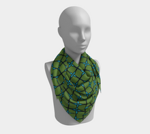 Load image into Gallery viewer, The Nadine Square Scarf in Green and Blue-Clash Patterns