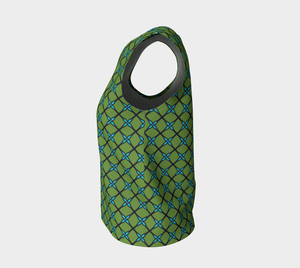 The Nadine Tank Top in Green and Blue-Clash Patterns