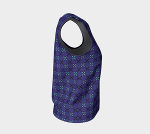 The Nadine Tank Top in Purple and Blue-Clash Patterns