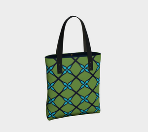 The Nadine Tote Bag in Green and Blue-Clash Patterns
